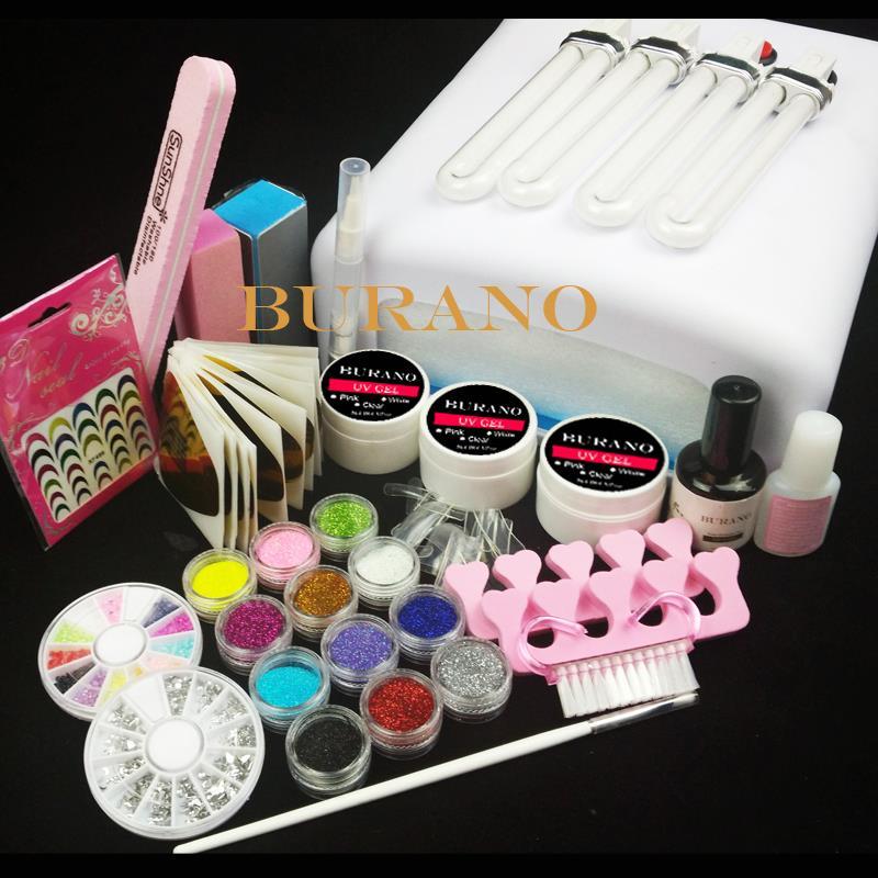 New 36W UV Dryer Lamp Timer Block Sanding French Nail Art Tips Gel Tools DIY Kit 003# manicure set<br><br>Aliexpress
