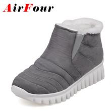 Airfour Slip-on Invierno Botas de Nieve Caliente Zapatos de Mujer de Tacón Bajo cuñas Botas de Plataforma Botines para Las Mujeres Sexy Negro Rojo zapatos(China (Mainland))