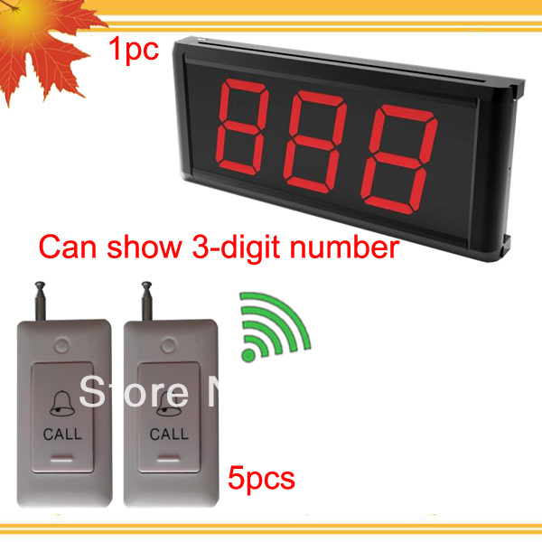 Wireless call bell system of 1pc display receiver K-403 can show 3-digit number and 5pcs call bell K-B DHL free shipping free