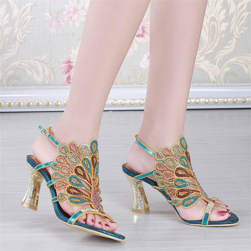 2016 Summer New Fashion Ladies Leather Elegant Diamond Stiletto Shoes Comfortable Sandals With High Heels T-strap<br><br>Aliexpress