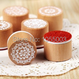 6 styles DIY Scrapbooking Vintage Round Wooden Flowers Mini Stamps Sealing Stamp Floral Lace Decoration Stamp(China (Mainland))