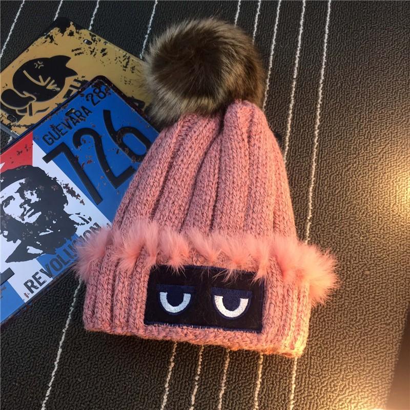 Knitted hat women outdoor cap thick wool hat fur ball warm Beanies