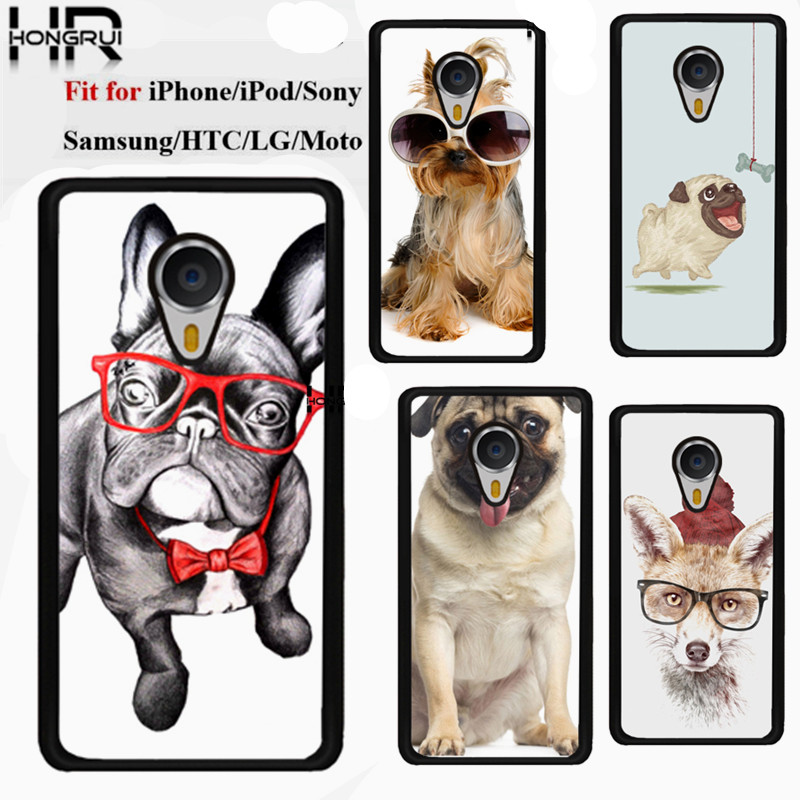 Cute Pug Dog Hard Plastic Custom Printed Cell Phone Cases Cover For Meizu Mx4 Mx4 pro Meizu M1 Note Meizu M2 Note Sony Z1 Z2 Z3(China (Mainland))