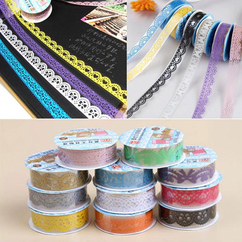 Гаджет  10 PCS Decorative Lace Roll Washi Sticky Paper Masking Adhesive Tape Crafts DIY None Офисные и Школьные принадлежности