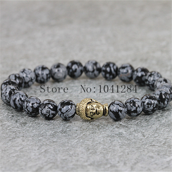 10PCS Hot Sale Jewelry Snowflake Obsidian Antique Silver Buddha Bracelet Yoga Bracelet New Products for Men's and Women's GIft(China (Mainland))