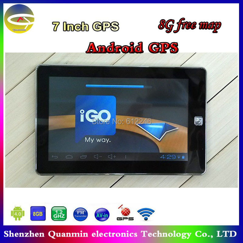 7inch Car GPS navigator Android OS A13 1.2GHZ 800x480 WiFi 512M 8GB,free newest 3D maps or Navitel,Tablet GPS navigation(China (Mainland))