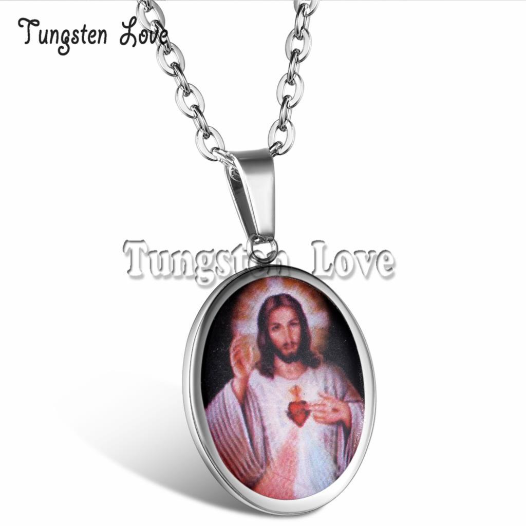 Vintage Jesus Christ Necklace Virgin Mary Enamel Stainless Steel pendant for Men Women Christianity Catholic Jewelry 6 Styles(China (Mainland))