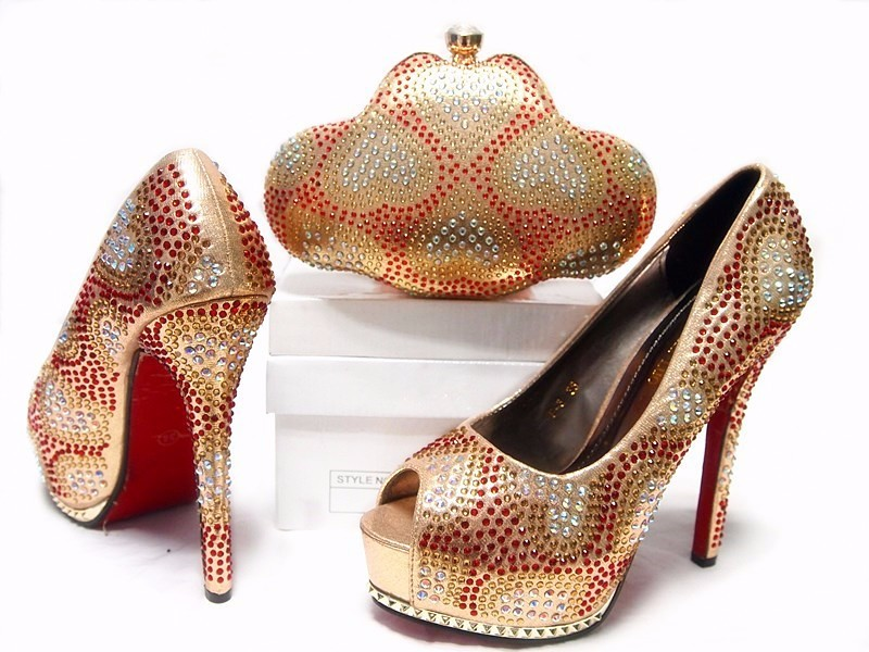 2016 Italian Shoes With Matching Bag High Quality Italy Shoe And Bag set For wedding and party ,Free Shipping With gold color