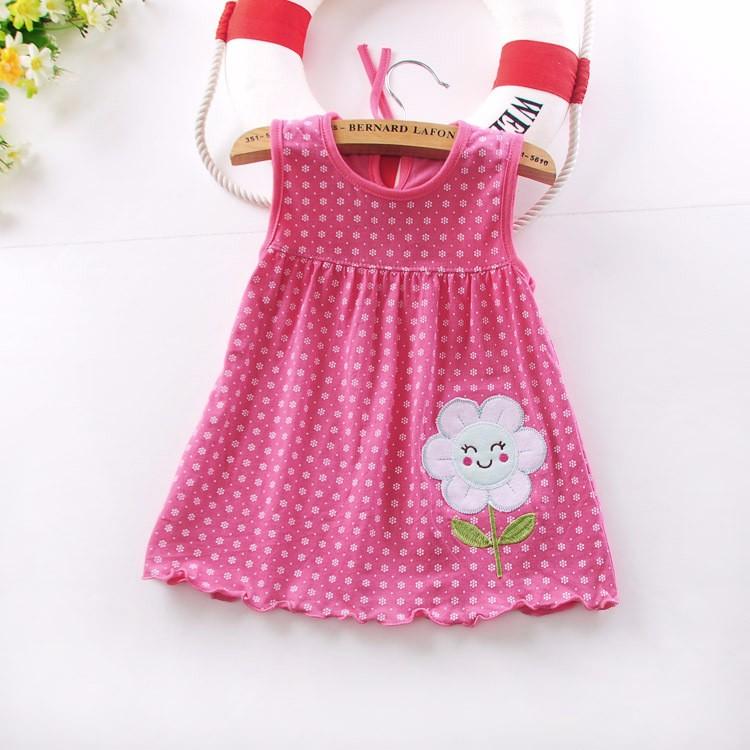 2016 new Cute Baby Girl Dress Cotton Dot Striped Slip Dress pear flower Children Kids Clothing 0-18M dress
