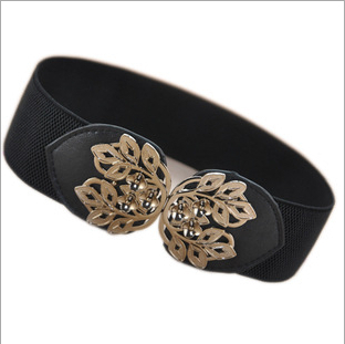 2014 new fashion Rose gold leaves girdle, Leisure women Elastic band wide belts, Brand clothing belt belts for women(China (Mainland))