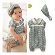 Baby romper/ Girl's blue romper with white dot/ Children sportswear headpiece + teddy/2 pieces romper set(China (Mainland))
