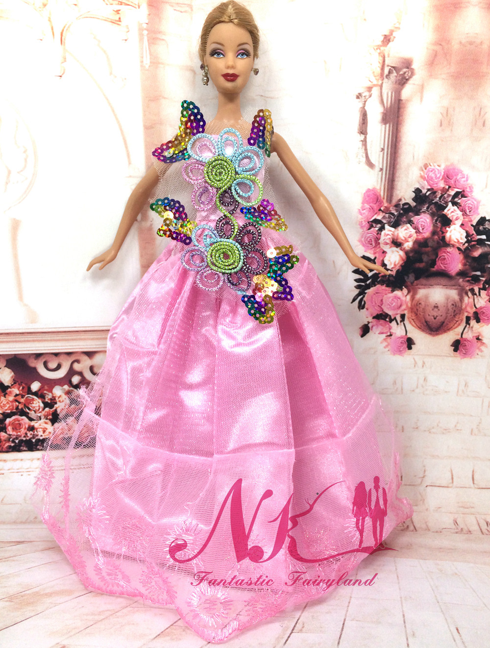 NK One Pcs Princess Doll New handmake marriage ceremony Gown Style Clothes Robe For Barbie Sizzling Dolls Equipment Greatest Present 033A