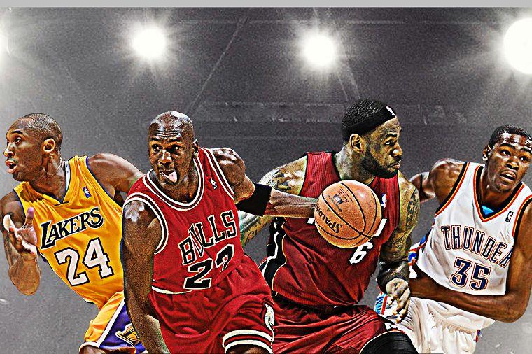 Michael Jordan,Kobe,Lebron James Durant 4 legend in one Poster wall Fabric Canvas Poster Print F011 (107)(China (Mainland))