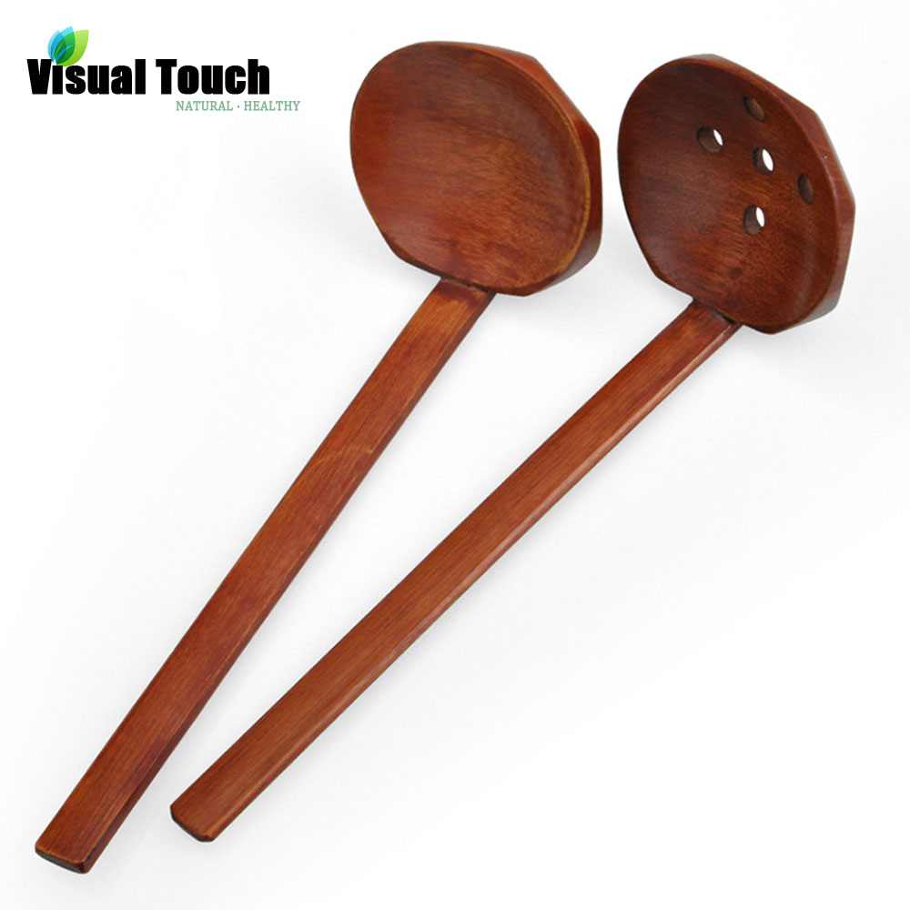 Multi-Use Nature Solid Wood Ladle Serve Set Pierced Table Spoon Hot Pot Ramen Soup Spoons Slotted Spoon Dinner Rice Noodle(China (Mainland))