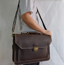 New crazy horse leather briefcase,double interlayer men's leather portfolio horse leather business handbag  leather shoulder bag(China (Mainland))