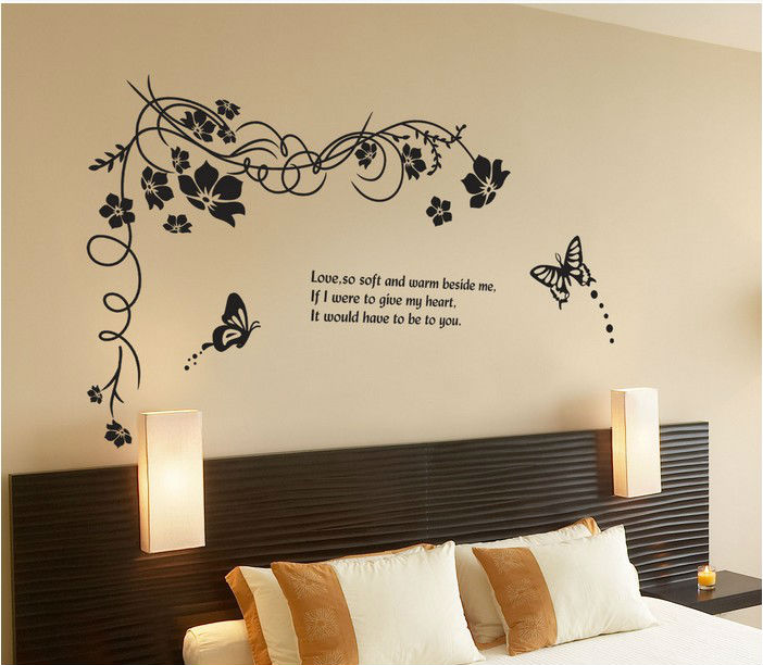 Black butterfly flowers home decor wall stickers crystal for Decor discount