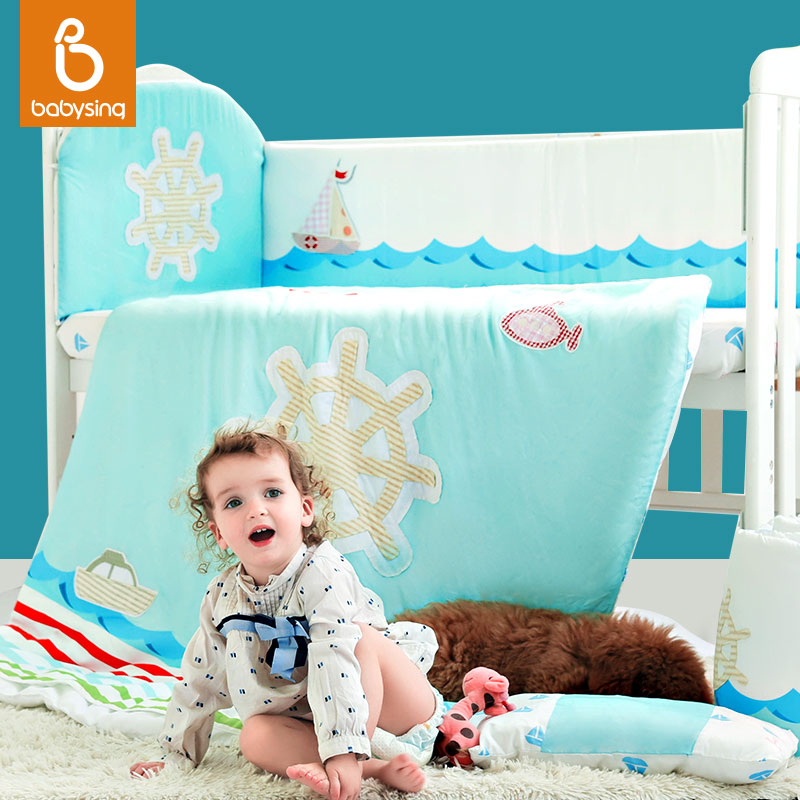 Bumpers Cot Zipper Babysing Baby Crib Bedding Cover Sets Cotton Sheet Conference Quilt Cover Detachable and Washable Suit(China (Mainland))