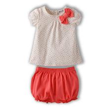 Kids Baby Girl Bow Cotton Summer Outfits Cherry Dots T shirt Tops Pants 2Pcs Set