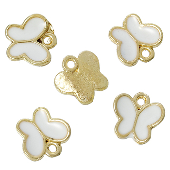 "Zinc metal alloy Charm Pendants Butterfly Gold Plated White Enamel 8mm( 3/8"") x 8mm( 3/8""),2 PCs 2016 new"