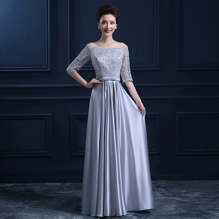 long formal lace sleeve royal blue grey silver off shoulder evening dresses party ball red carpet dress with sleeves W2780(China (Mainland))