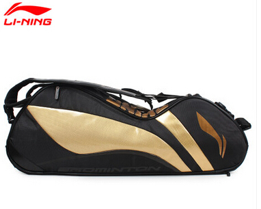 Gold/Black Genuine Lining Badminton Rackets Bag 2015 Chen Long 6 Racquet Badminton Bag Li-ning ABJJ048 Backpack L240