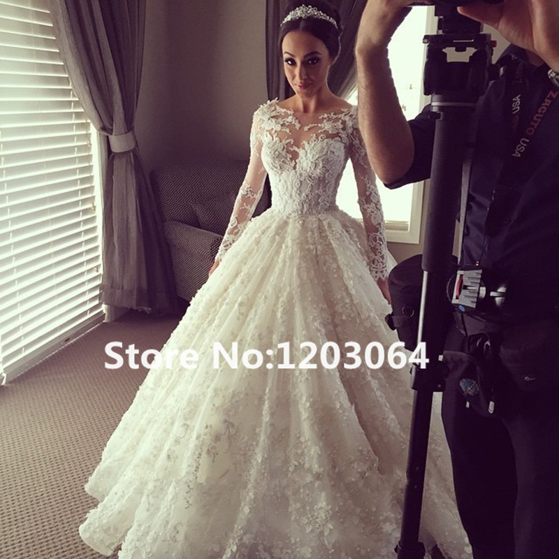 2016 Lace Ball Gown Wedding Dress With Long Sleeve Lace