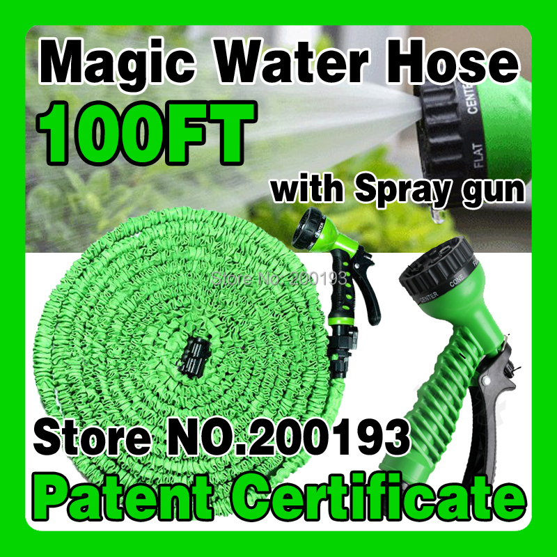 [PATENT CERTIFICATE] Free Shipping After Stretched Working Lenght 30M Plastic Connector 100FT GREEN Garden Water Hose+Spray Gun(China (Mainland))