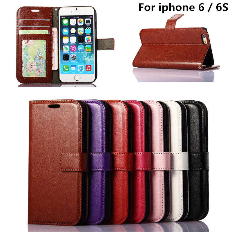 For iphone6S Coque Luxury Wallet Flip PU Leather Case Cover For iphone 6 6S 6 S Mobile Phone Bag With Card Frame Stand Holder(China (Mainland))