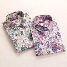 New Floral Blouse Cherry Turn Down Collar White Shirt Blusa Feminina Long Sleeve Vintage Ladies Blouses Womens Tops Fashion 2015(China (Mainland))