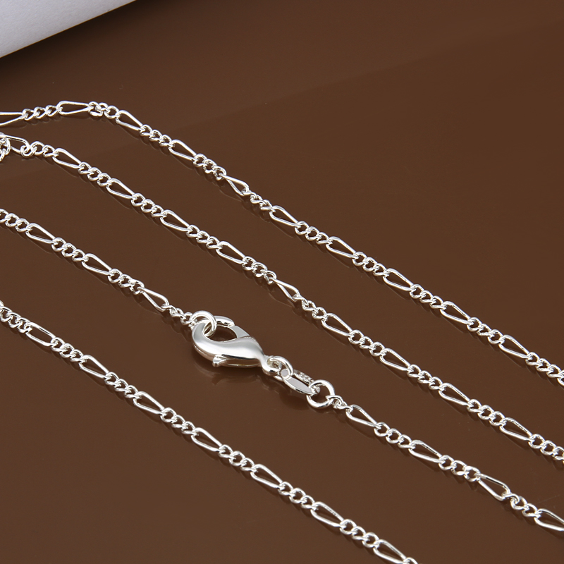 "wholesale 2mm 16""18""20""22""24"" 925 stamped silver plated Figaro Chain Necklace Man women jewelry finding Factory price 10pcs/lot(China (Mainland))"
