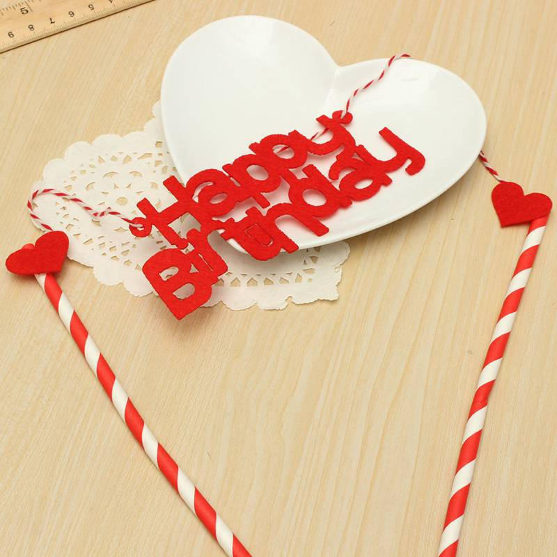 Lovely Heart Pattern Red Happy Birthday Cake Topper Festival Birthday Party Decorative Supplies(China (Mainland))