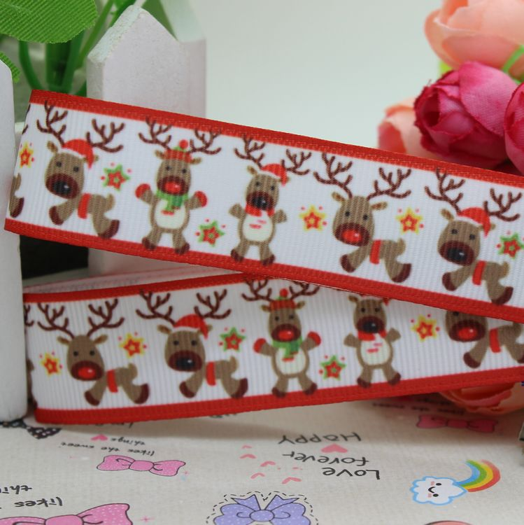 7/8'' Free shipping deer animals christmas printed grosgrain ribbon hairbow diy party decoration wholesale OEM 22mm P1925(China (Mainland))