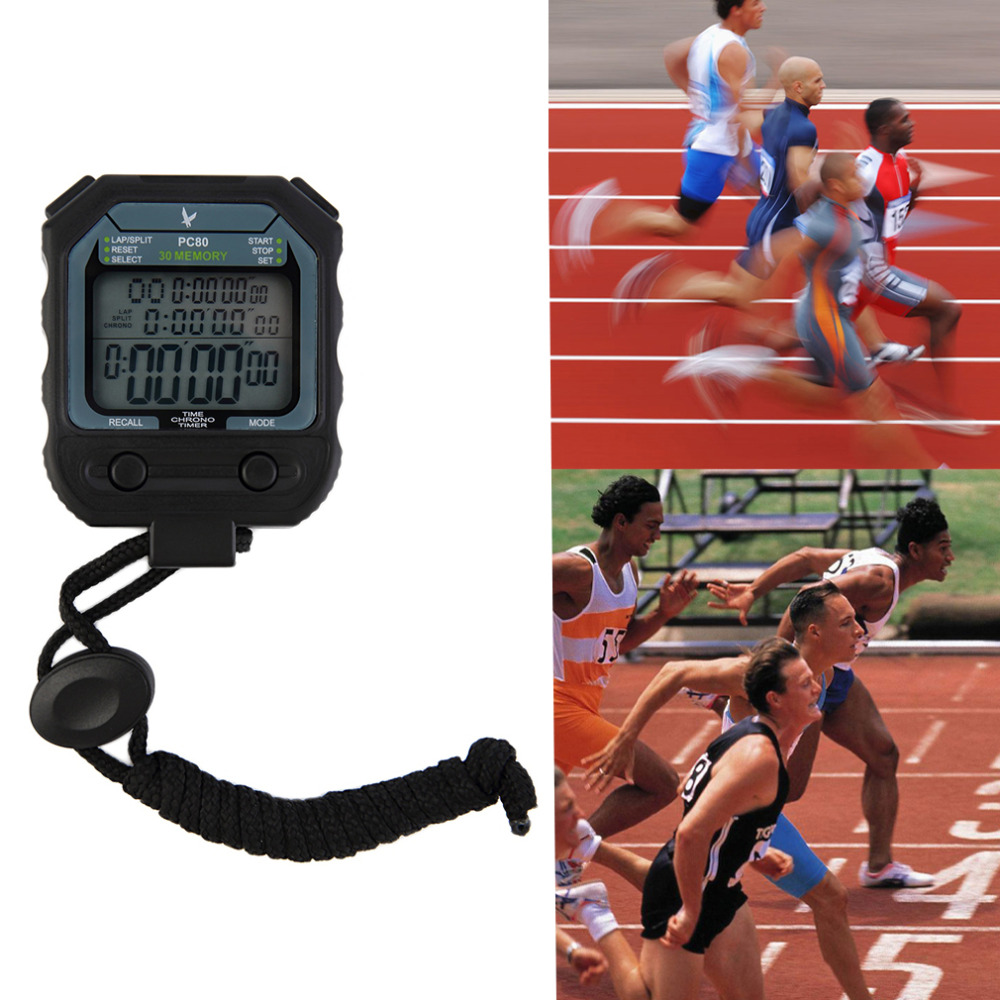 3 Row 30 Laps Handheld Digital Chronograph Dual Split Recallable Memory Athletics Stopwatch Sport Running Timer Brand New(China (Mainland))