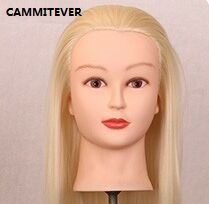 "20"" Long Golden Hair Mannequin Head For Wigs With Stand Female Mannequin Head Hairstyles Cosmetology Display Wig Holder(China (Mainland))"