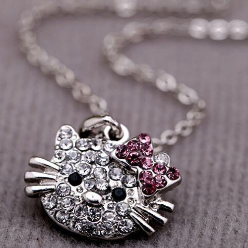 Cute Hello Kitty Cat Design Pendant Chain Necklace Charm Clear Rhinestone Fashion Jewelry Necklace Lovely Cute Cat Girl Necklace(China (Mainland))