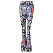 2016 Stylish High-Waisted Printed Boot Cut Women's Flare Pants With S-XL Size(China (Mainland))