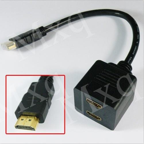 1080P High Speed Split 1.4 Standard Male HDMI Signal to 2 Femal Adapter Splitter Video Cable to AV Converter for XBOX 360 HDTV(China (Mainland))