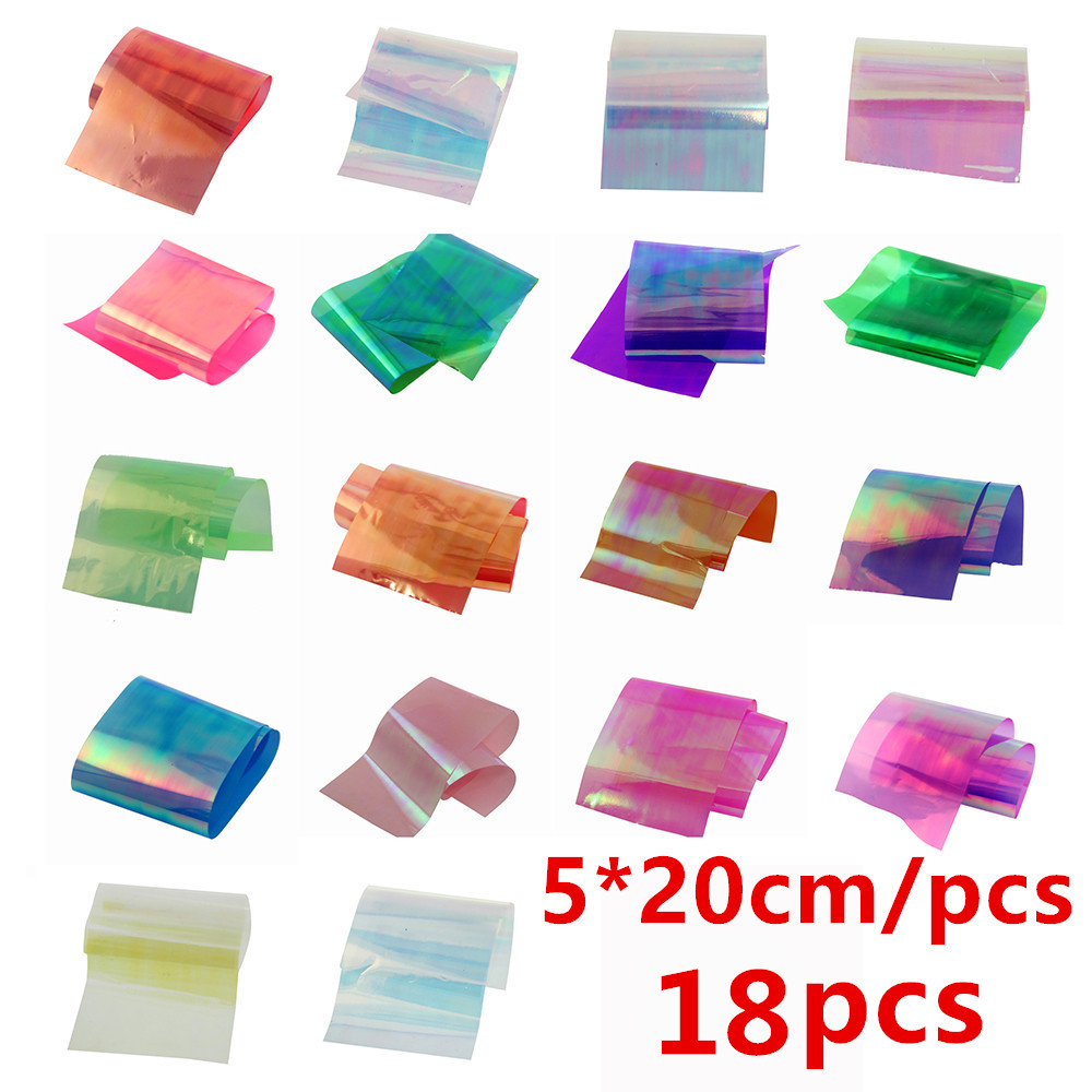 1Lot 18pcs/Colors Nail Art Latest Holographic Glass Nail Foils Shiny Laser Foils Transfer Candy Color Nail Sticker(China (Mainland))