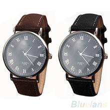 Men s Roman Numerals Faux Leather Band Quartz Analog Business Wrist Watch 2MPW 45PA
