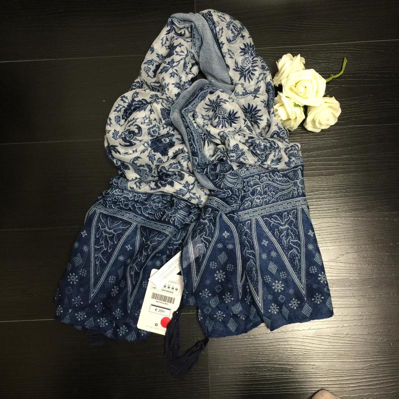 Негабаритных синий и белый фарфор этнический стиль шарфы цветок принт шифон шарф с кистями традиционный бандана