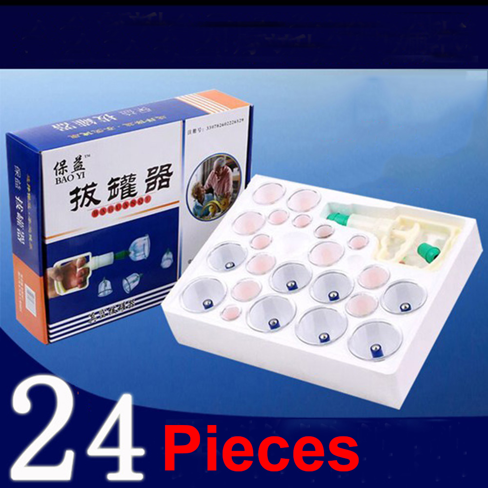 Effective Healthy 24 Cups Medical Vacuum Cupping Suction Therapy Device Set Chinese Vacuum Cupping Massage Thick Therapy Sets(China (Mainland))