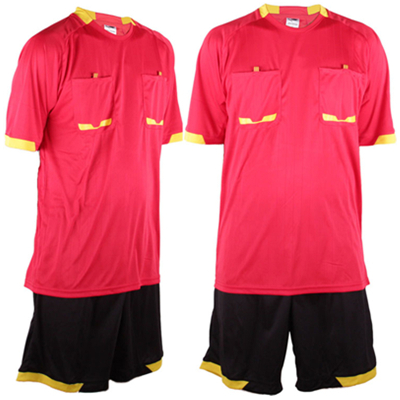 2016 New Survetement Football Men's Soccer Referee Jersey Sets Thai Sports Referee Judge Uniform Short Shirt Tracksuits Red XXXL(China (Mainland))