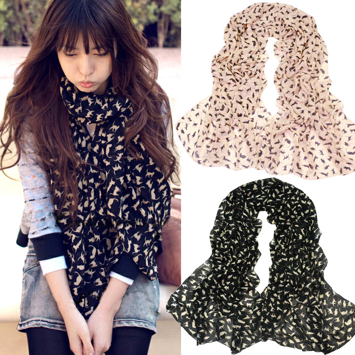 Free shipping 2013 women's lengthen scarf cat scarf velvet chiffon silk scarf(China (Mainland))