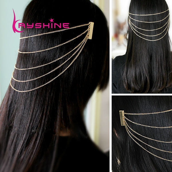 Fashion Elegant alloy long tassel chain punk combs hair accessories for women