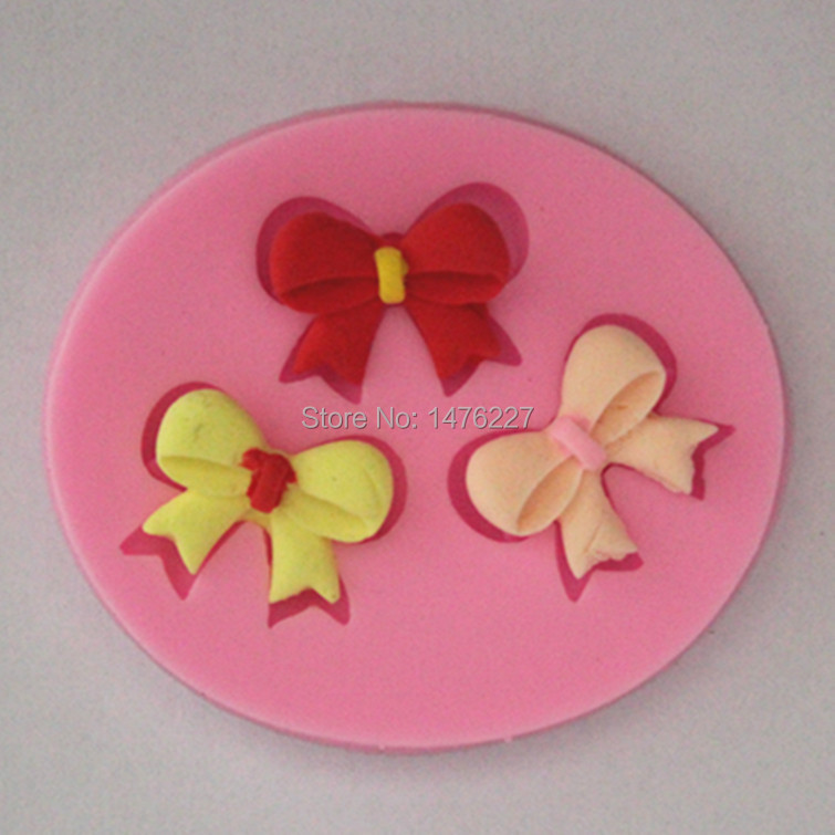 3 Bow Ties Shaped Mold Food Grade Plastic Chocolate Candy Ice Jelly Soap Fondant Cake Mould Random Free Shipping(China (Mainland))