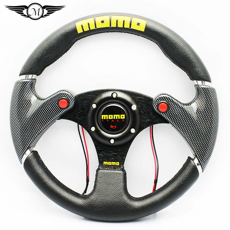 Universal Multifunctional 320mm 13 Inch Car Auto Momo Modified PU+PVC Material Automobile Race Steering Wheel with Three Horns(China (Mainland))