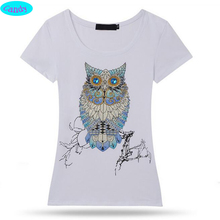 newest arrive Europe fashion style t-shirt for girls Hand-beaded hot fix rhinestone cute Owl pattern kids girl tshirt  DZ2