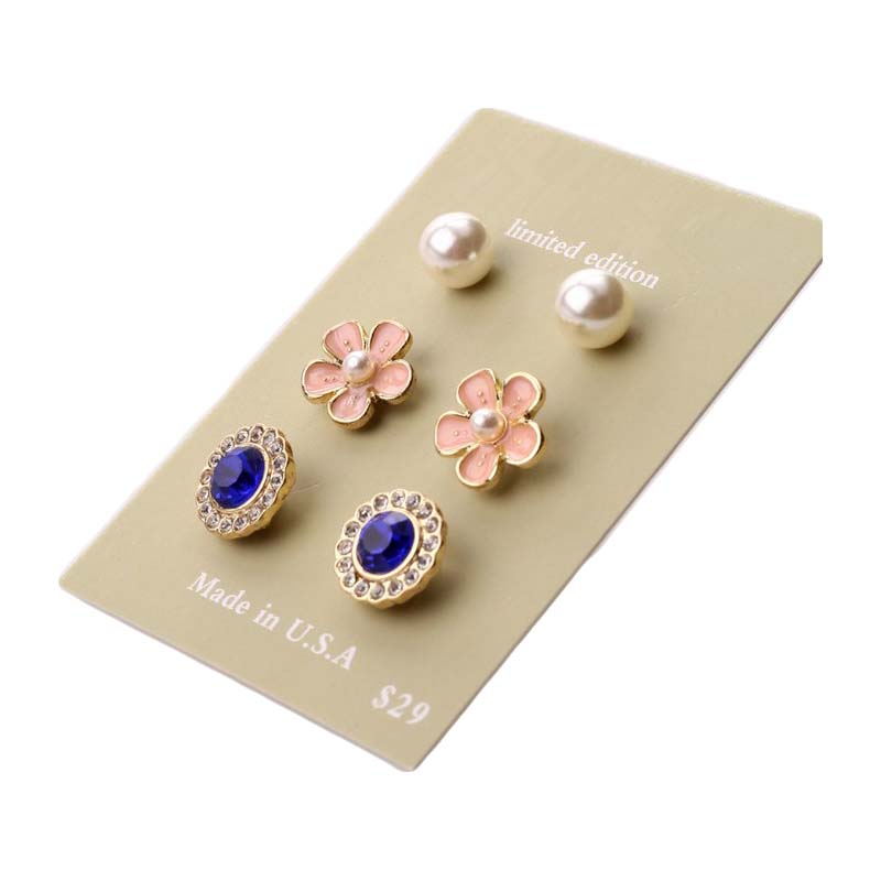 Aristocratic Temperament Brand Style Crystal,Pearl,Flower Ear Jewelry ,Rhinestone Stud Earrings for Women Fashion Earring Set(China (Mainland))