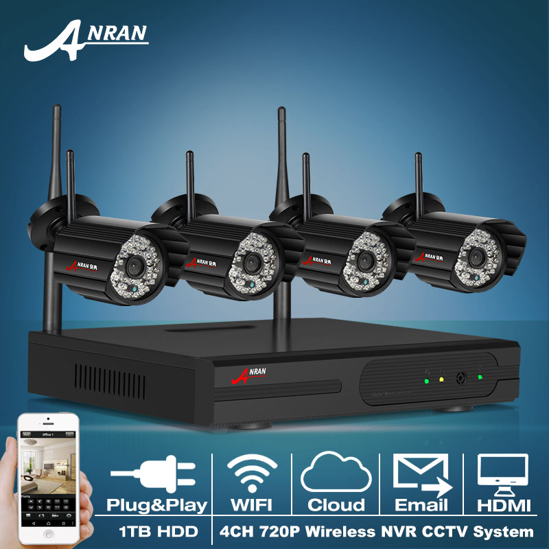 4CH H.264 NVR Wireless CCTV System 720P IP Camera WIFI Waterproof IR Night Vison Home Security Surveillance Kit 1TB HDD(China (Mainland))
