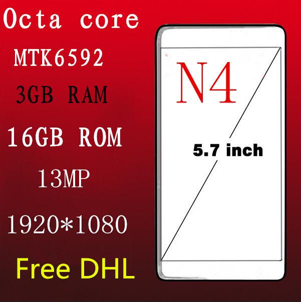 Металлический каркас Octa ядро N4 телефон 5.7 дюймов MTK6592 4 мобильный Android 4.4 16 ГБ ROM 2 ГБ оперативной памяти 1920 * 1080 HD 13MP IPS примечание смартфонов 3 г